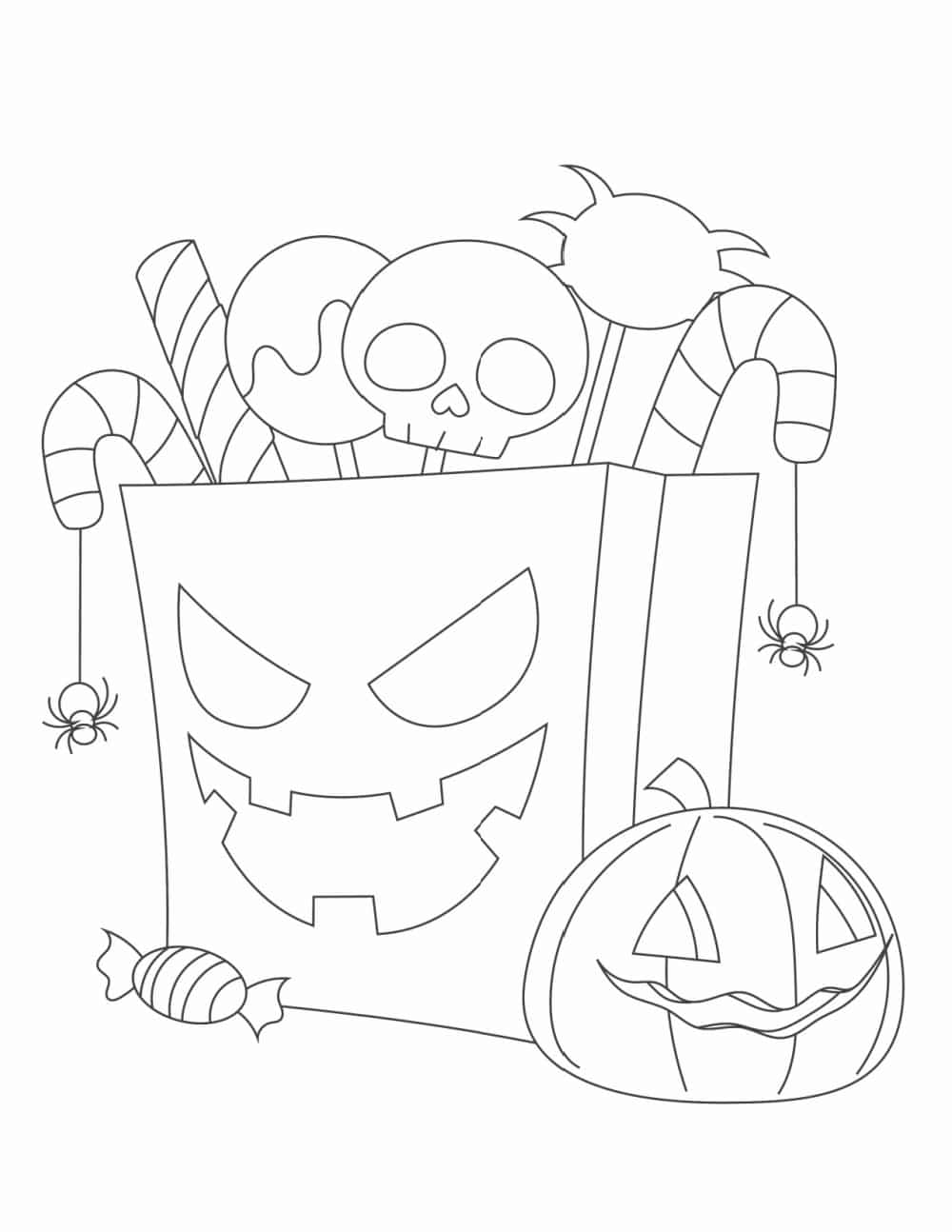 These free printable easy Halloween coloring pages for kids are too scary or detailed which makes them perfect for kids.