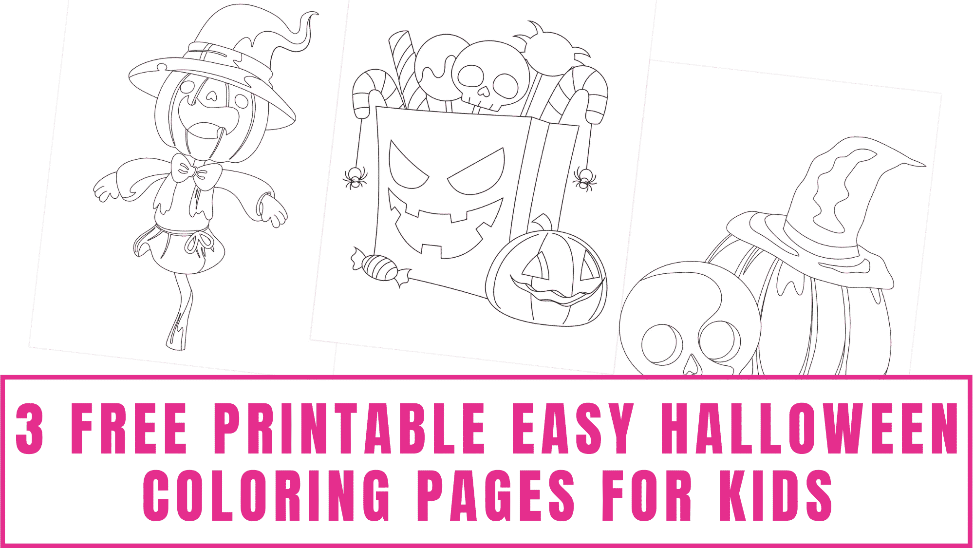 Your kids will have fun decorating these free printable easy Halloween coloring pages for kids.