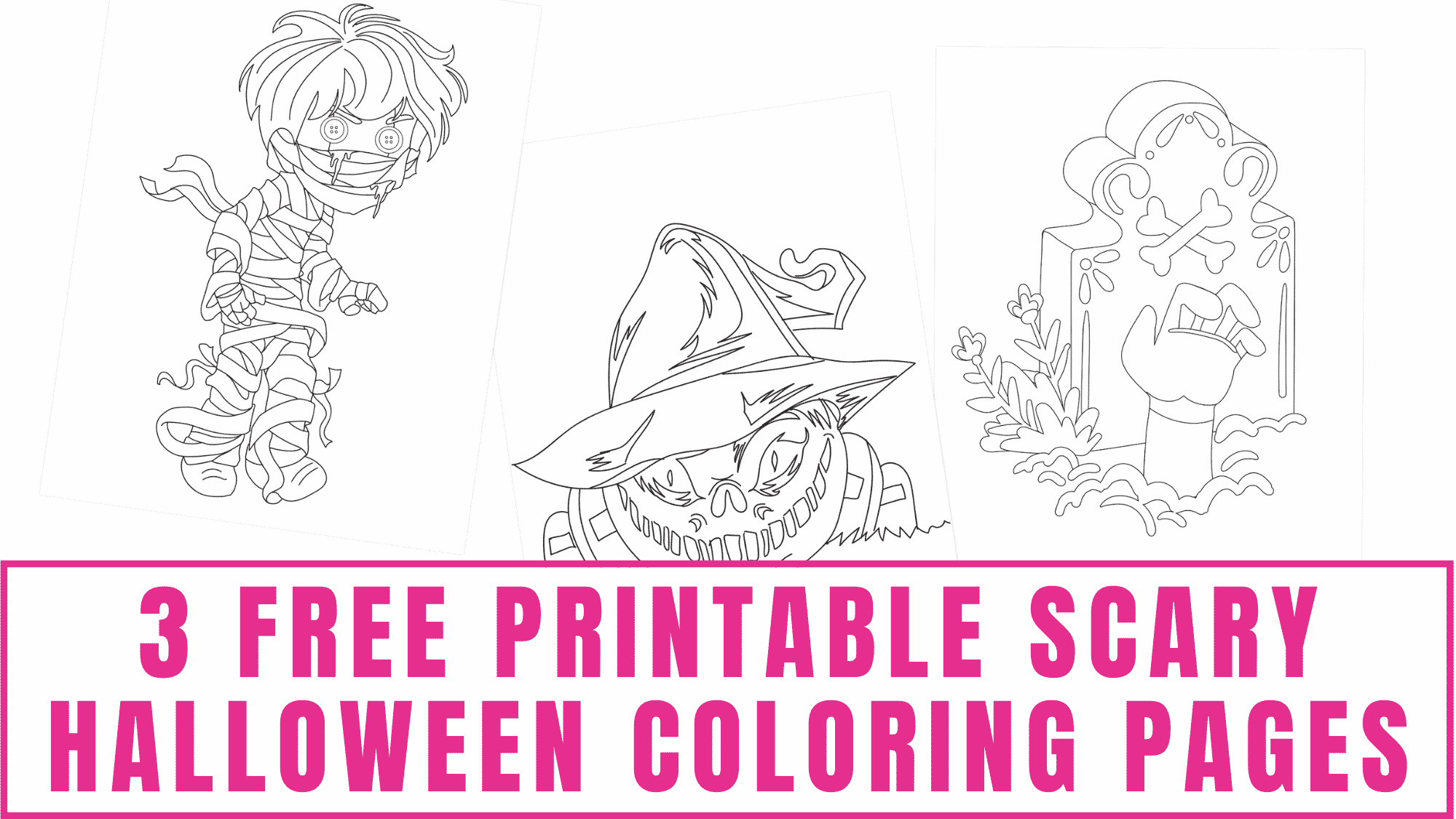 Looking for Halloween coloring pages for adults? These free printable scary Halloween coloring pages have just the right amount of frightening.