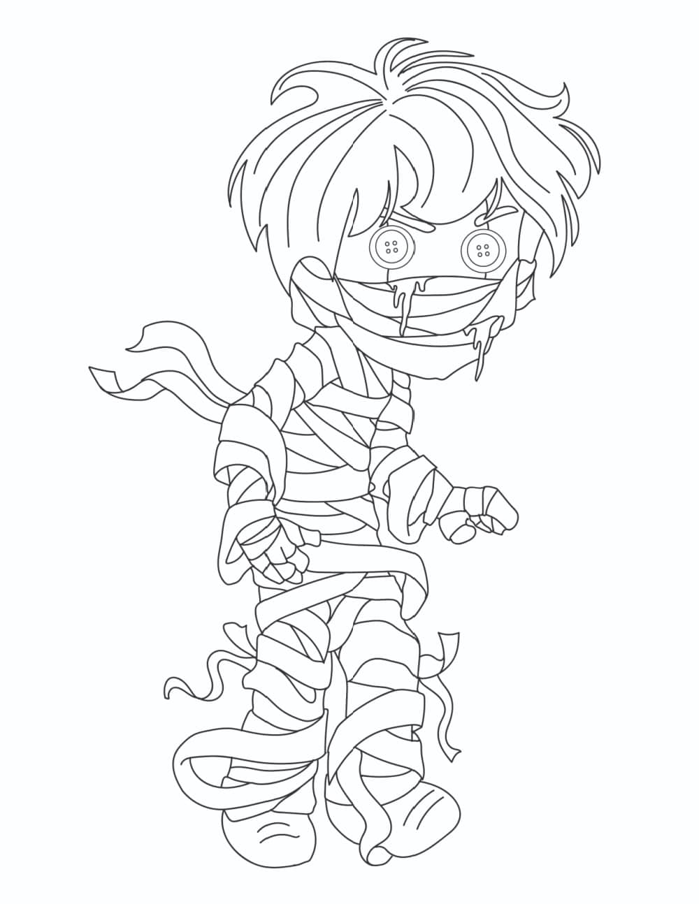 If you're looking for free printable scary monster coloring pages, look no further than this one featuring a mummy boy with button eyes!