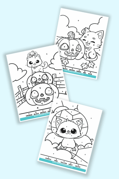 free Halloween color by number printables