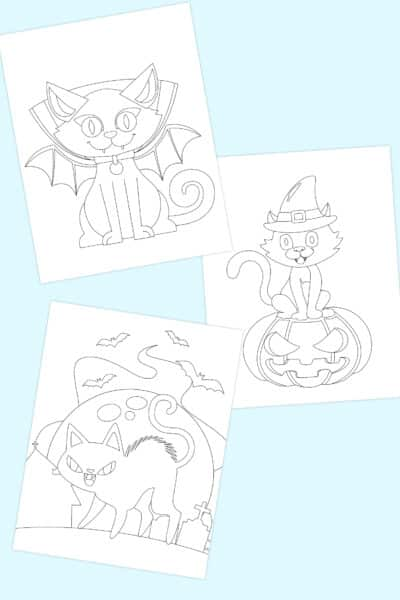 free printable Halloween cat coloring pages