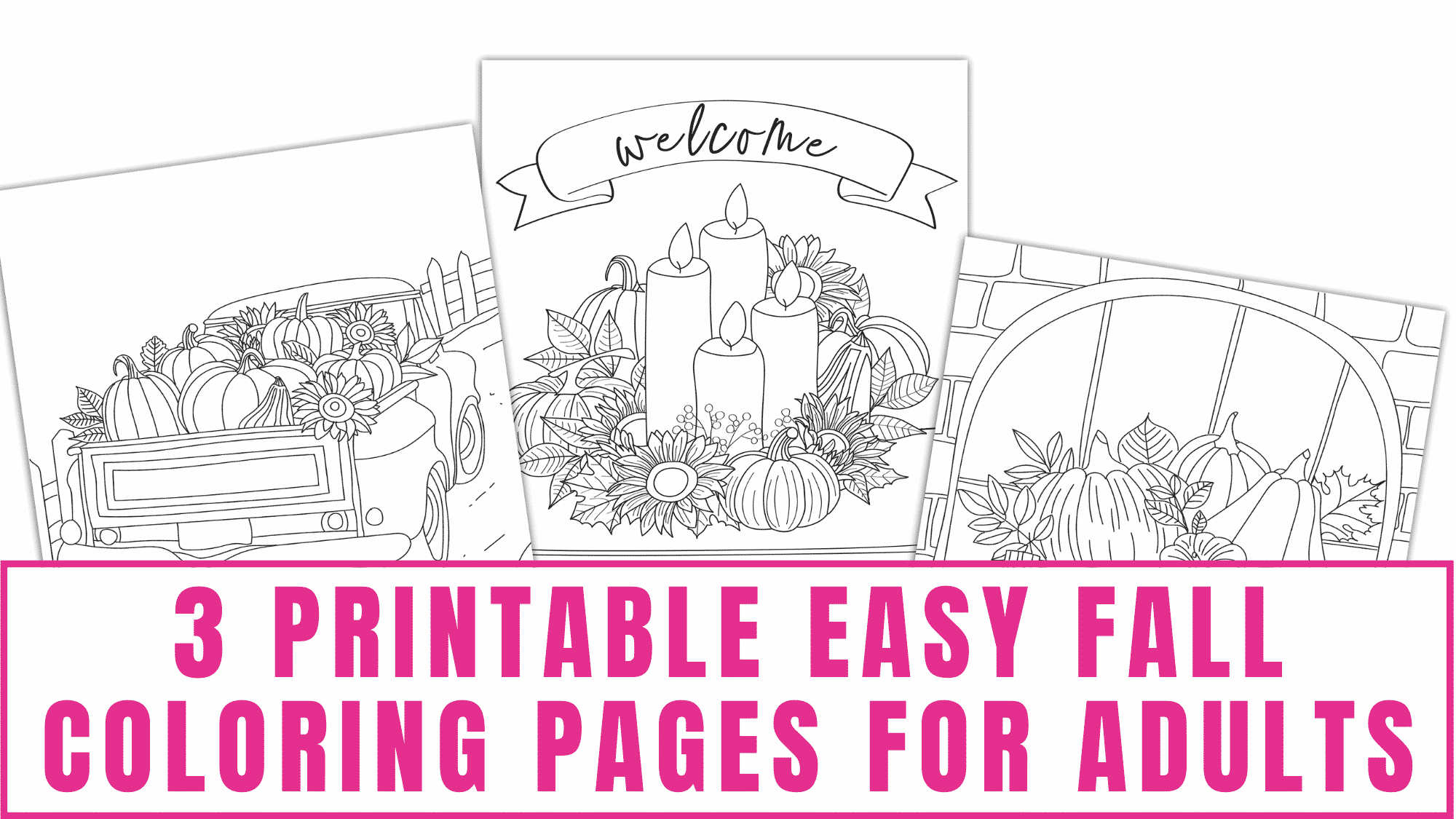 After these beautiful printable easy fall coloring pages for adults are colored you can proudly display them because they will make pretty DIY fall decorations.