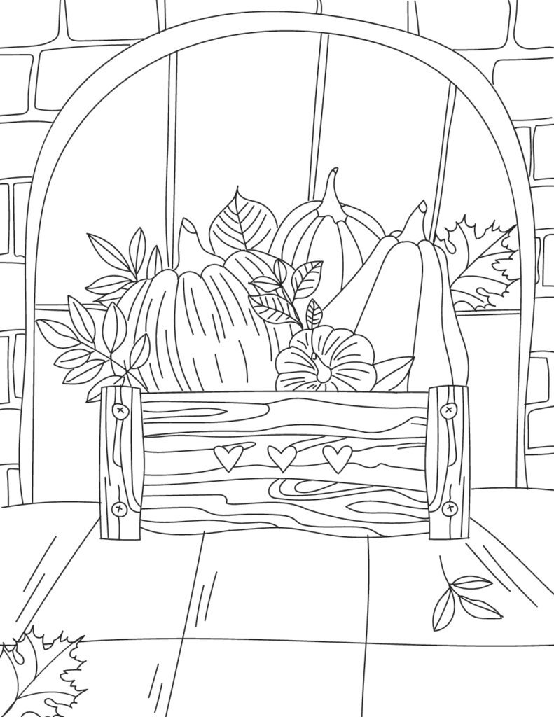 The wooden box adorned with three hearts that's overflowing with fall leaves, pumpkins, and gourds makes beautiful printable fall coloring pages for adults.