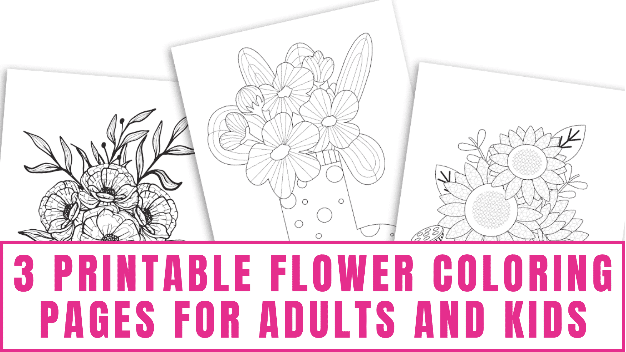 Bring these printable flower coloring pages for adults and kids to life by adding an assortment of colors.